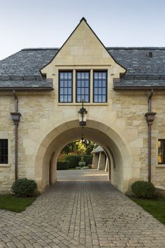 Porte Cochere over Reclaimed Brick Driveway - Maudiebickram Porte Cochere, Brick Driveway, Driveway Ideas, Happy New Home, English Country Cottages, English Farmhouse, Tudor Style Homes, Garage Apartments, Residential Architecture