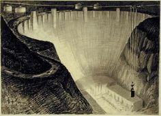 Hugh Ferriss' architectural sketches, 1915-1961