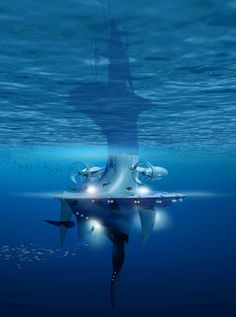 Jacques Rougerie (French architect) has come up with this skyscraper-boat named SeaOrbiter for the ocean exploration. This 58-meter-high and 500 tones in weight vessel is to give an opportunity for 18-22 researchers to spend 24 hours a day underwater. This watercraft will let astronauts experience close to space states in the pressurized environments. The concept will utilize ocean currents to travel, as well as use sun, wind and wave energy to propel itself.