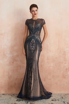 Marvelous Jewel Tulle Mermaid Prom Dress Online for Sale Evening Dresses Online, Evening Gowns, Evening Dresses For Weddings, Dress Online, Tulle Prom Dress, Mermaid Prom Dresses, Short Sleeve Prom Dresses, Evening Dresses With Sleeves, Dress Long