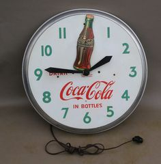 1950s Swihart COCA COLA ROCKING BOTTLE CLOCK                Animated motion sign #cocacola
