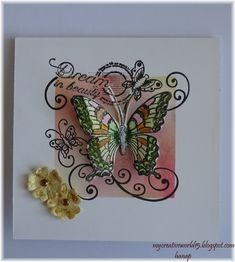 Dream in Beauty Hi,friends, today I have a new card called Dream in Beauty. I chose the stamp with the same name from Heartleft C. Happy Moments, I Card, Creativity, Butterfly, Stamp, Shapes, Pictures, Painting, Beauty