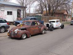 "With Ratso's '40 Chevy drag car, ""Tetanus"""