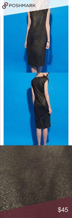 V neck shimmer scuba midi dress V neck shimmer scuba dress. Size 16w. Beautiful sleeveless dress. New with tags. 97% polyester 3% spandex. Black with gold specks ECI Dresses Midi