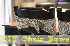 DIY Home Decor | These fabric chair bows are the perfect way to add interest to your dining room chairs!
