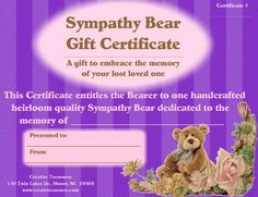 Sympathy Bear Gift Certificate Memorial Gift Instead by Create247
