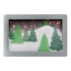 #zazzle #christmas Christmas trees on a hill with red sparkly snowy night sky.