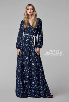 Welcome to the new nautical: the TOMMYXGIGI collection is a playful update of seafaring classics. Crafted from pure silk with a rope belt, this maxi dress add a touch of romance this fall. --with Gigi Hadid --
