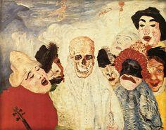 James Ensor, Death and the Masks. Oil on canvas, x 100 cm Musée d'Art moderne et d'Art contemporain (MAMAC ), Liège. It was confiscated and sold by the Nazi regime at the Galerie Fischer auction in Switzerland in James Ensor, Modern Art, Contemporary Art, Degenerate Art, Franz Marc, Masks Art, Art Series, Art Moderne, Impressionist