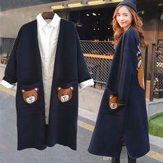 2017 Autumn New Women Poncho Long Cardigan Swearter Bear Pattern Pockets Full Sleeve V-Neck Oversize Cardigan Sweater Women Coat