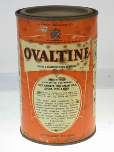 27141 Old Vintage Antique Advert Tin Ovaltine Food can Wartime Home Front Ration Ovaltine, Our Country, East London, Coffee Cans, Childhood Memories, Vintage Antiques, Cocoa, Beverages, The Past