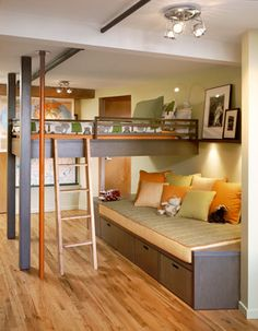 A customized modern loft bed for an older child.  The space beneath the bed can be used for a lounge or for work space.