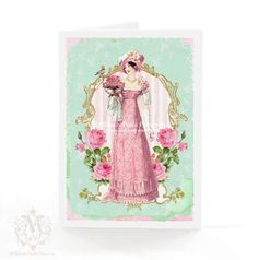 Jane Austen Greeting Card Regency Vintage Style by mulberrymuse, $5.25