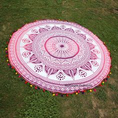 Pink Flower Eye Large Roundie - Multicolor Pom Pom Border