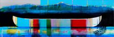 Soupir, mixed media canoe painting by Sylvain Leblanc   Effusion Art Gallery + Cast Glass Studio, Invermere BC River Painting, Boat Painting, Cast Glass, Canadian Artists, Contemporary Decor, Canoe, House Colors, Landscape Paintings, Original Artwork