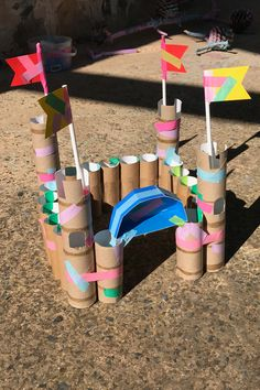Recycled cardboard castle - STEM/STEAM ideas - We love creating using materials from the recycling bin, here is one of our latest creations made m - Recycled Crafts Kids, Fun Crafts For Kids, Toddler Crafts, Preschool Crafts, Diy For Kids, Crafts With Recycled Materials, Cardboard Crafts Kids, Craft Materials, Kid Crafts