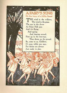 Fairy Song / John Martin's Big Book No. 13 Copyright 1929 Fairy Land, Fairy Tales, Fairy Quotes, Pomes, Vintage Fairies, Vintage Bee, Flower Fairies, Magical Creatures, Pics Art