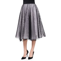 Milly Women's Pleated Dot Tulle Skirt - Black/Blush (0)