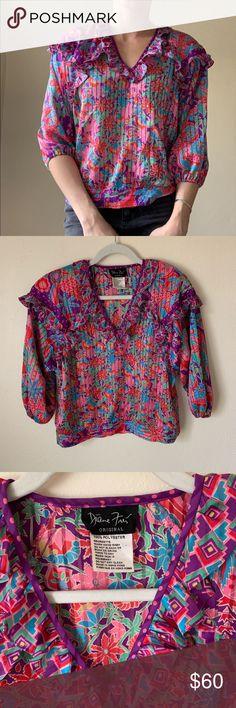 Spotted while shopping on Poshmark: Vibrant Diane Freis Vintage Georgette Blouse! #poshmark #fashion #shopping #style #Diane Freis #Tops