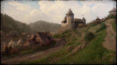 Kuvahaun tulos haulle kingdom come deliverance castle Medieval World, Medieval Castle, Medieval Fantasy, Dark Fantasy, Village Map, Valley Village, Fantasy Places, Fantasy World, Kingdom Come Deliverance
