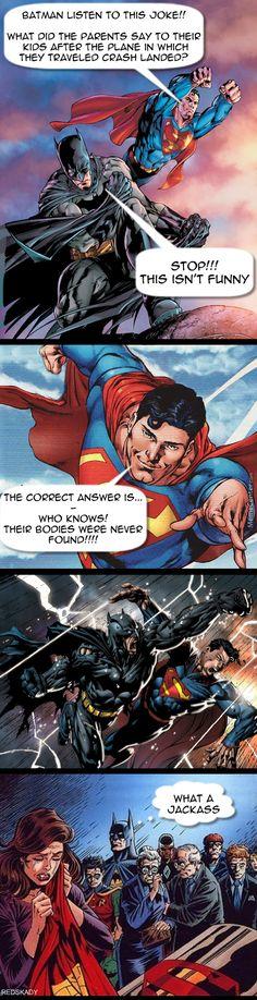 Superman tells a joke.