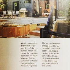 Colin & Justin's cedar hot tub from Canadian Hot Tubs was featured in the Summer 2015 issue of Cottage Life magazine. For more info: http://www.canhottub.com