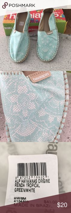 Havaianas Gorgeous aqua and white espadrilles shoes from Havaianas! Wish wish they fit me! Havaianas Shoes Espadrilles