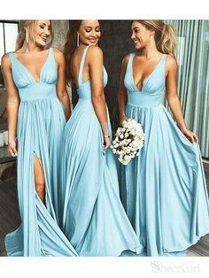 5b7c7c306d2 Simple Cheap Long Bridesmaid Dresses with Slit V Neck Formal Dress PB10108