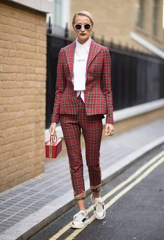 red plaid/red/white outfit
