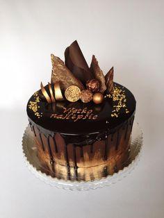 Čokoládová Drip tortička, Autorka: Layla A, Tortyodmamy. Elegant Birthday Cakes, Birthday Cakes For Men, Chocolate Birthday Cake For Men, Birthday Cake Decorating, Cake Decorating Tips, Food Cakes, Cupcake Cakes, Butter Cupcakes, Chocolate Cake Designs