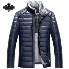 Men's Leather Down Jacket Winter Fur Collar Detachable PU Leather Jackets For Mens Warm Overcoat Casual Coats Leather Jackets (Blue)  US $60.00 - US $65.00
