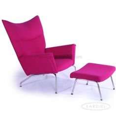 Hans J Wegner Style Wing Chair U0026 Ottoman, Pom Fusion Danish Cashmere Wool  