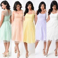 bc5bd7ed Retro Vintage Cocktail Dress with sheer cap sleeves in pastel colors Unique Bridesmaid  Dress XS - 4X