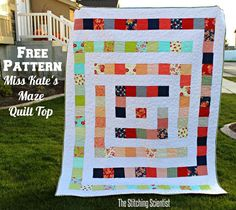 Free Pattern Miss Kates Maze Quilt Top-This is actually a really simple beginner pattern that any novice quilter can piece together.