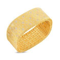 Roberto Coin Princess 18K Yellow Gold Satin Finish Wide Bangle with Fleur de Lis Diamonds