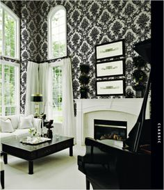 The Wallpaper Company, 56 sq. Black and White Mid Scale Damask Wallpaper, at The Home Depot - Mobile Black And White Living Room, Black And White Interior, Good Living Room Colors, Wallpaper Companies, Damask Wallpaper, White Damask, White Houses, Home And Living, Damask Decor