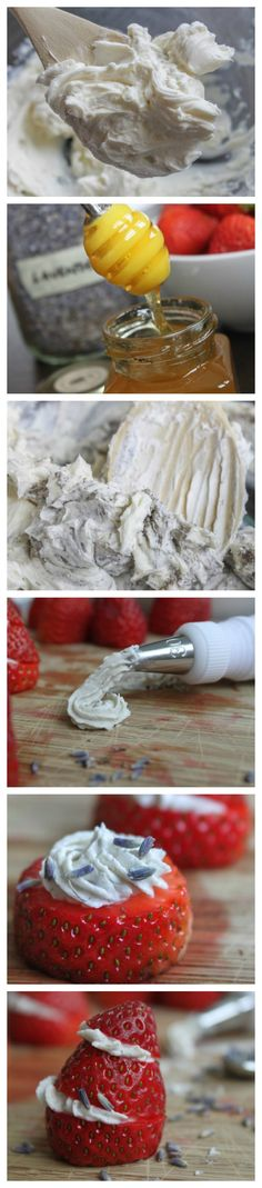 #Strawberries Stuffed with Honey-Lavender Cream Cheese - #CheatSheet Holiday Dessert!