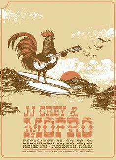 Original silkscreen concert poster for JJ Grey & Mofro live at The Freebird in Jacksonville, FL in 2007. 16 x 22 inches on card stock.