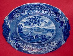 """Historical Staffordshire dark blue soup tureen under tray with a view of """"Fair Mount Near Philadelphia"""" By Joseph Stubbs. This is quite a scarce piece and would make a great companion to a Fair Mount Soup Tureen. Overall condition is very good with just a very small surface flake on the back rim [and a small chip in trees at right in well]. It has crisp transfer and a high shiny glaze. The tray measures 11 1/2"""" by 14"""". It dates circa 1825. Offered in Oct. on ebay for $1250 by vette64."""