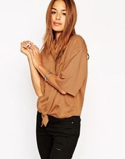 ASOS Boxy Oversize Shirt With Tie Front Detail
