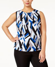 Calvin Klein Plus Size Abstract-Print Shell