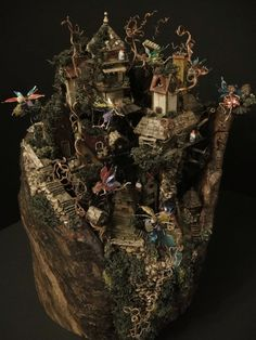 Extreme Miniature fairy gnome village cottage tiny houses lovely and loaded with detail