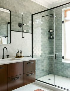 Green tile is trending in interior design. Here are 35 reasons why we can't get enough green tile. For more interior design trends and inspiration, visit domino. Bathroom Trends, Bathroom Interior, Bathroom Ideas, Bathroom Remodeling, Remodeling Ideas, Bathroom Grey, Remodel Bathroom, Bathroom Storage, Bathroom Vanities