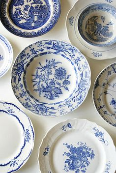 """blue and white porcelain plates hung on wall(bottom right is Royal Copenhagen's """"Blue Flowers Curved"""") Blue Dishes, White Dishes, White Plates, Blue Plates, Blue And White China, Blue China, Red And White, Delft, Himmelblau"""