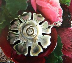 Iridescent  floral  mother  of  pearl pendant   | BellaWorxJewelry - Jewelry on ArtFire
