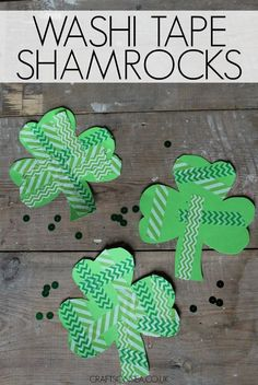 These washi tape shamrocks are a cute kids craft for St Patricks Day and are a great way for promoting good fine motor skills too!