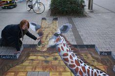 3D Giraffe street art
