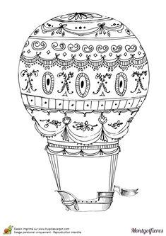 Une montgolfière décorée dans le style steampunk à colorier.