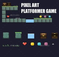 Pixel Platform Game Tileset — Photoshop PSD #16 bit #ios • Available here → https://graphicriver.net/item/pixel-platform-game-tileset/12499482?ref=pxcr
