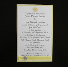 Looking for wedding invitations that will wow your guests? Check out these yellow simple wedding invitations. Buy these invites online or in store. With many different invitation designs and we can help with invitation wording. Weather you need to order invitations, diy invitations, just need invitation ideas, we can help with handmade wedding invitations, printed invitations, simple and elegant invitations and wedding cards.